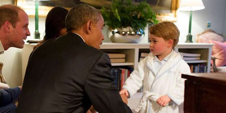 Prince George Meets the Obamas in their visit to the UK