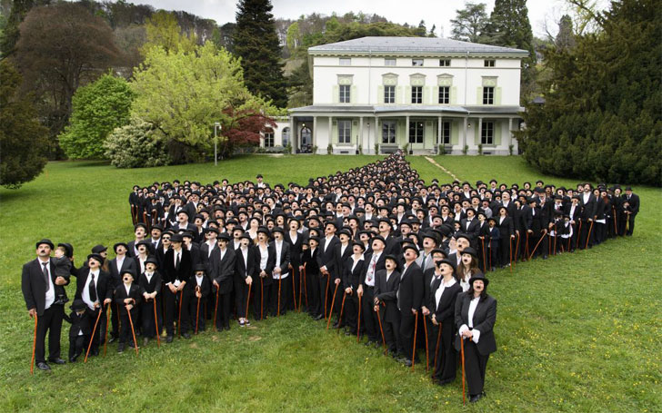 A Birthday tribute to Charlie Chaplin. 662 Chaplins lookalikes set a record in Switzerland