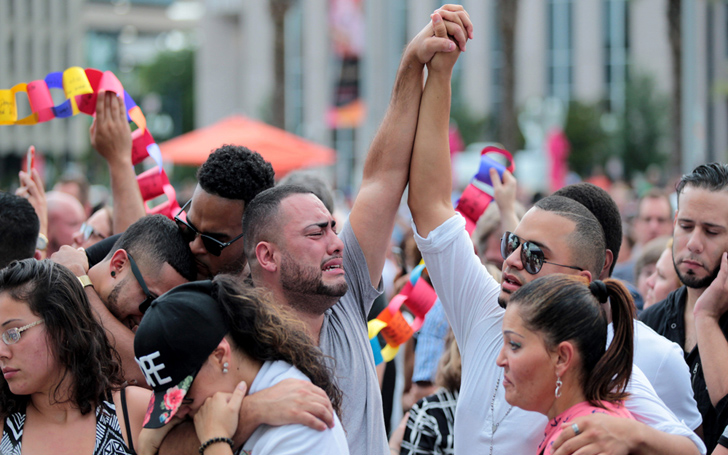 Marking First Anniversary of Orlando's Mass Shooting, Angels Dressed Men Surrounded Nightclub
