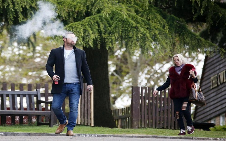 LIFE'S A DRAG EastEnders' Danny Dyer puffs on a vape while filming EastEnders as he quits cigarettes