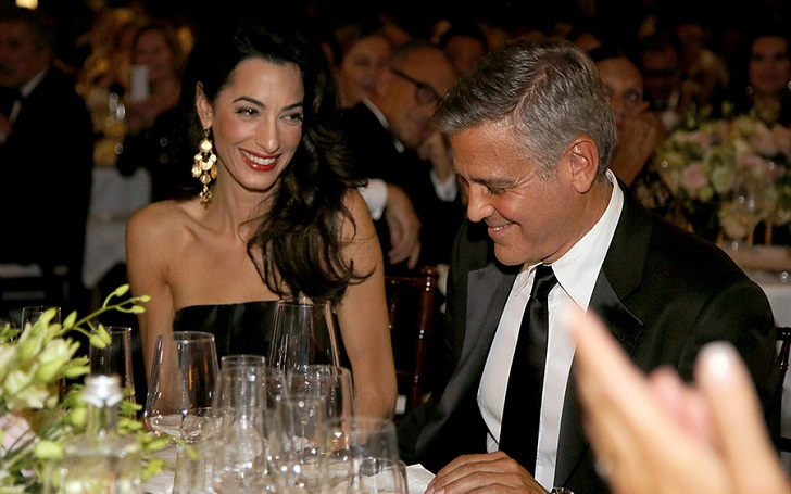 Amal Clooney in a Sheer Gown On a Date Night with George Clooney Two Months After Their Twins' Birth