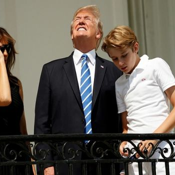 President Donald Trump Stares At The Solar Eclipse Without Wearing Protective Glasses