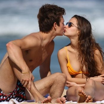 Caught In Action-Ansel Elgort Kissing Girlfriend Violetta At Bondi Beach