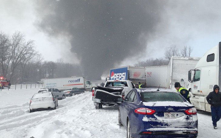 Snow Disaster on Michigan Highway-40 Cars Piled Up-Video