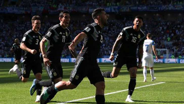 Argentina V. Iceland 1-1; Aguero Scoring For Argentina And Finnbogason For Iceland With A Penalty Miss From Messi