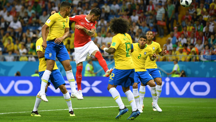 Switzerland Equalizes The Game Against Brazil With An Outstanding Header